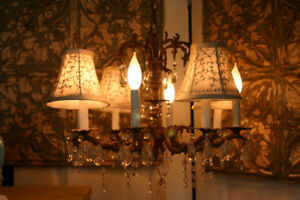 Vintage 8 light Chandelier with shades
