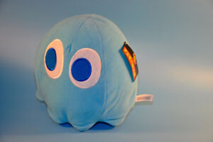 """2011 Pac Man Pacman 8"""" INKY Ghost Namco plush toy figure"""
