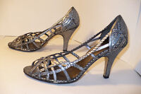 Marcello Paci strapy high heel open toe silver leather shoes Sz8