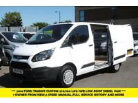 2014 FORD TRANSIT CUSTOM 270/100 L1H1 2.2 TDCI SWB DIESEL VAN IN WHITE , 1 OWNER
