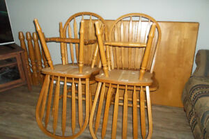 SOLID BIRCH TABLE / CHAIRS W  BUTTERFLY LEAF