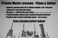 Start playing better today! Guitar & Piano lessons