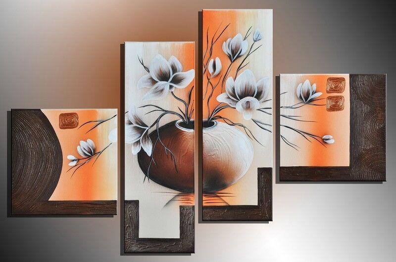 Blumen+M4+-+Leinwandbild+4+teilig+100x70cm+Handgemalt