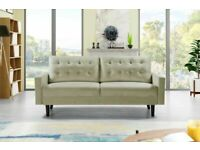 BRAND NEW FURNITURE- Mazz 2 Seater And 3 Seater Sofa Plush Velvet In Grey And Cream Color