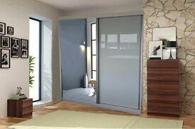SPECIAL OFFER !!EXCLUSIVE DEIGN 2 Door Vision Sliding Wardrobe Full Mirrored Size 150cm/200cm