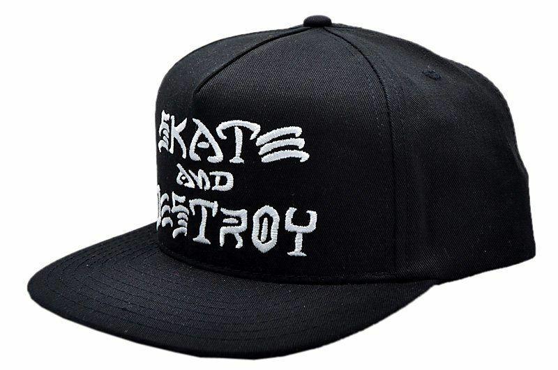 Thrasher Magazine SKATE AND DESTROY Snapback Skateboard Hat BLACK
