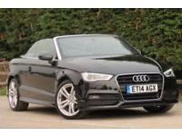 AUDI A3 2.0 TDI DIESEL SLINE CONVERTIBLE 2 DOOR 2014/14 BLACK