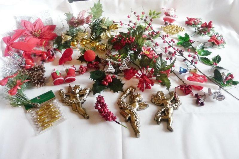 CHRISTMAS CRAFTERS Vintage Lot Holly Santa Birds Angels bells decorations