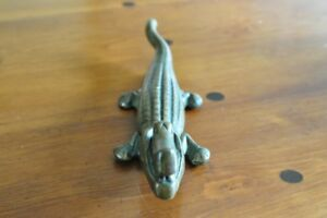 Vintage solid brass alligator nutcracker