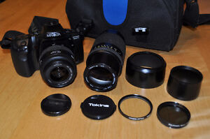 Minolta Dinax 500 si camera and lenses set with case and filters
