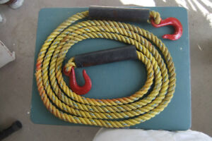 14 foot yellow tow rope with metal hooks