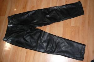 Pantalon de moto en cuir noir