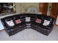 Faux leather corner suite sofa couch settee recliner