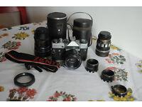 ZENIT EM 35mm SLR Vintage USSR Film Camera with Lens and Case, Kmz M42