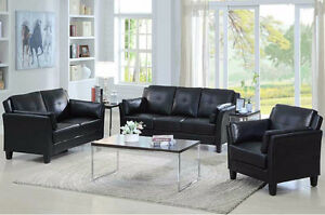 BLACK BONDED LEATHER SOFA SET WITH CUSHY ARMS