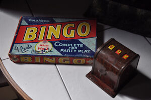 Old Bingo game with mechanical number generator