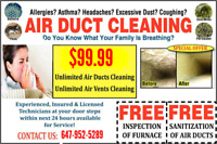 ONTARIO MEGA OFFER FOR DUCT CLEANING ONLY $100 WITH ALL VENTS