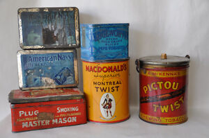 Tobacco Cans:  Pictou Twist, Macdonald Teist, Am Navy, Edgewood+