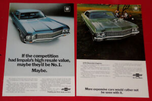 1970 CHEVY IMPALA COUPE & SEDAN VINTAGE CHEVROLET ADS - ANONCES