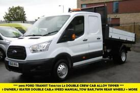 2015 FORD TRANSIT 350/125 L3 DOUBLE CREW CAB ALLOY TIPPER IN WHITE NEW SHAPE,6 S