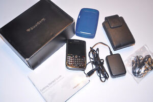 Blackberry phone. All accessories. Charger. Cover. Belt holder.