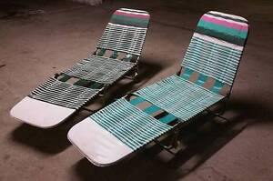 Aluminum Chaise Banana Lounge Folding Lawn Chairs x2- VINTAGE NEW Bondi Junction Eastern Suburbs Preview