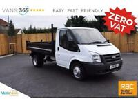 Ford Transit NO VAT SINGLE CAB 100BHP 6 SPEED STRONGER STEEL BODIED TIPPER PVC S