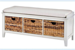 MODERN ENTRYWAY SHOE BENCH - with basket drawers