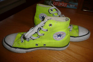 Youth size 2 Hightop Converse - Highlighter Yellow