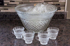 Crystal Punch Bowl Set - with 21 Cups
