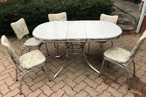 1950u0027s Mid Century Formica And Chrome Kitchen Table Set