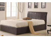 **GET TODAY ** DOUBLE LEATHER FRAME *BLACK/BROWN* WITH SEMI-ORTHOPEDIC MATTRESS!