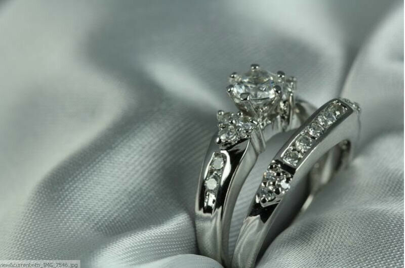 925 Sterling Silver Antique Style Cz Engagement Ring Wedding Ring Set