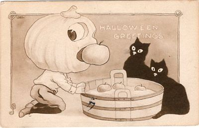 BERNHARDT WALL, PUBL. BY GIBSON ART Co., JOL MAN BOBBING FOR APPLES CATS LOOKING - Halloween Look For Men