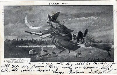 HALLOWEEN POSTCARD, PUBLISHED BY WILLIS WHIPPLE & COMPANY, SALEM WITCH, - Publisher Halloween Party