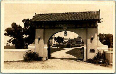 SPIRIT LAKE, Iowa RPPC Real Photo Postcard TEMPLAR PARK Gate View c1940s