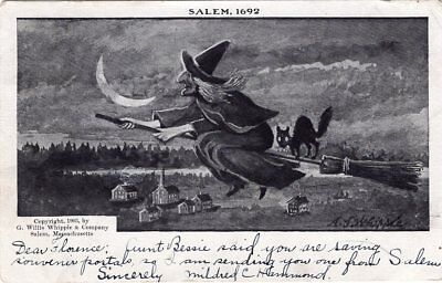 HALLOWEEN SALEM 1692, WITCH FLYING ON BROOM STICK - POSTALLY USED IN 1905
