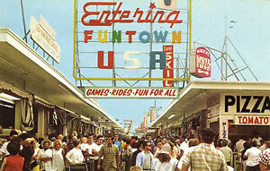 Seaside Heights NJ Funtown U.S.A. Boardwalk Games Rides Food 1965 Postcard Print