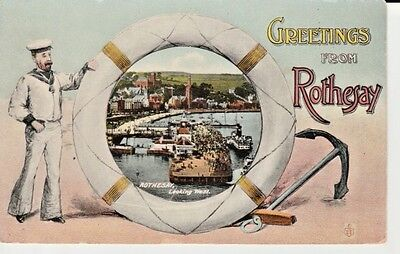 1909 GREETINGS from ROTHESAY - view of harbour through lifebuoy, sailor to left