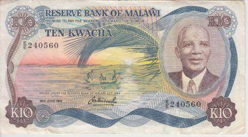 Malawi Banknote P16c-0560 10 Kwacha 30.6.1979, Prefix E/E, VF