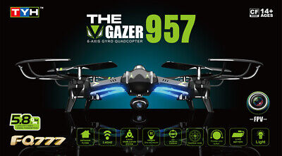 RC Drone FQ777 AF957 Quadcopter FPV 5.8Ghz Camera 2.4G 4CH Black, UK