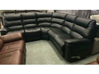 High retail black leather manual reclining corner suite