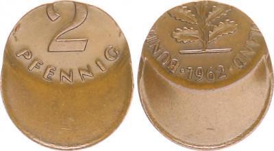 BRD 2 Pfennig 1962 Fehlprägung: 50 % dezentriert vz kräftige Kupferpatina