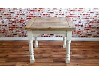 Painted Hardwood Tropical Rustic Farmhouse Dining Kitchen Table Extending Extendable Seats 4-8