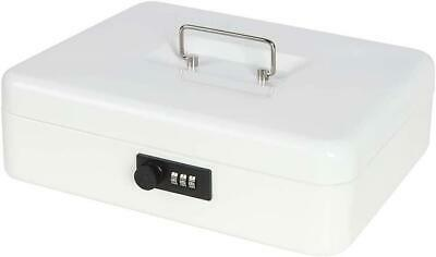 X-large Cash Box With Combination Lock White Durable Metal Safe With Money Tray