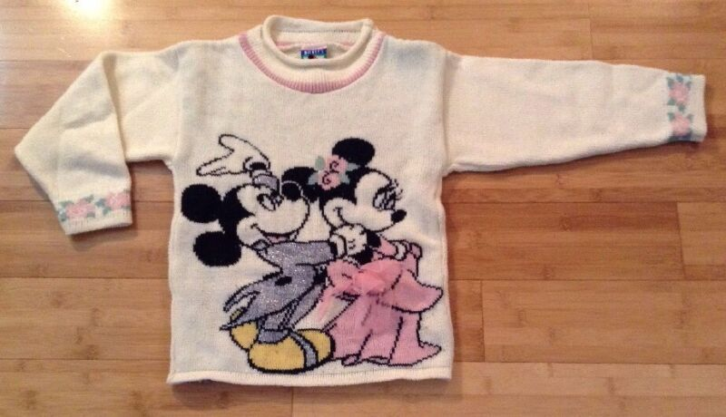 Vtg 80s/90s Mickey Minnie Mouse Sweater Girls Sz M Mickey