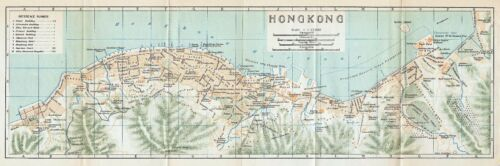 Original 1924 color map of Hong Kong, China- 香港