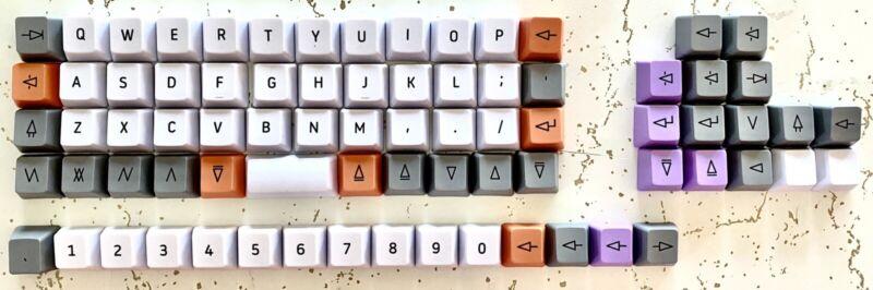 DROP OLKB Planck Preonic 40% Keyboard Ortholinear Keycap Kit Set Gray Orange