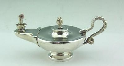 SOLID SILVER EDWARDIAN NOVELTY ALADDIN'S LAMP OIL TABLE CIGAR LIGHTER