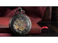 Brand new Steampunk Skeleton Mechanical Open Face Retro Vintage Pendant Pocket Watch